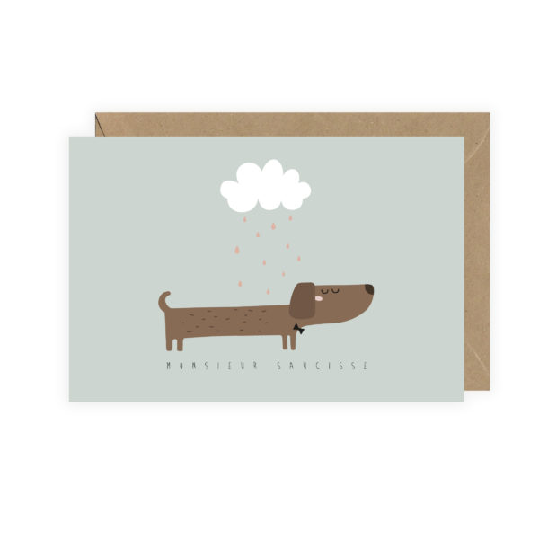 """Carte postale """"Monsieur Saucisse"""""""