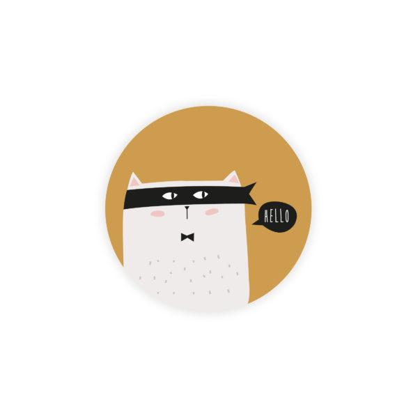 Sticker rond Naissance Super Chat