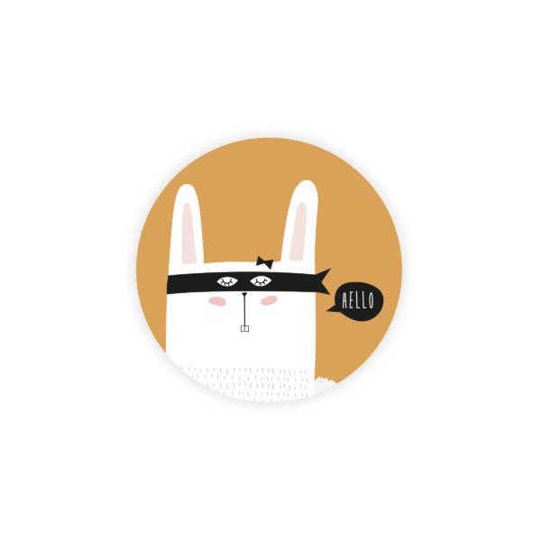 Sticker rond Naissance Super Lapin