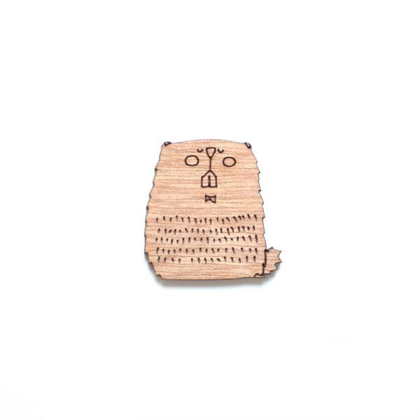 broche en bois marmotte