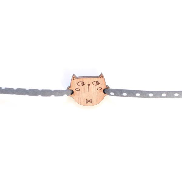 bracelet chat en bois