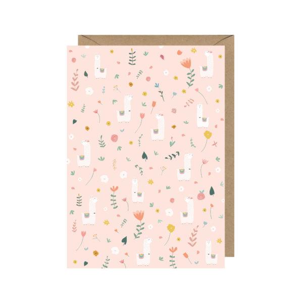 carte postale lama fleurs