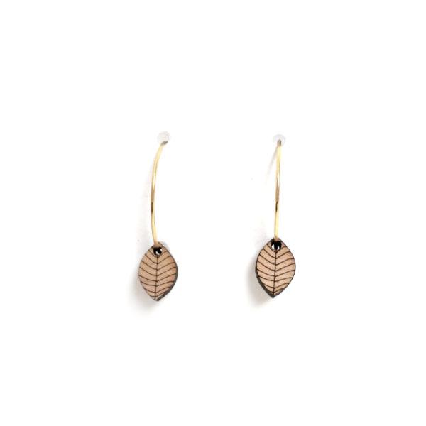 boucles d'oreilles en bois creole feuille