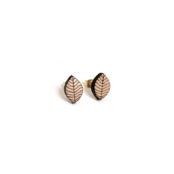boucles d'oreilles en bois  feuille